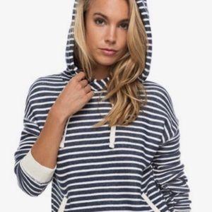 Roxy navy shoal stripe drawstring hoodie xs
